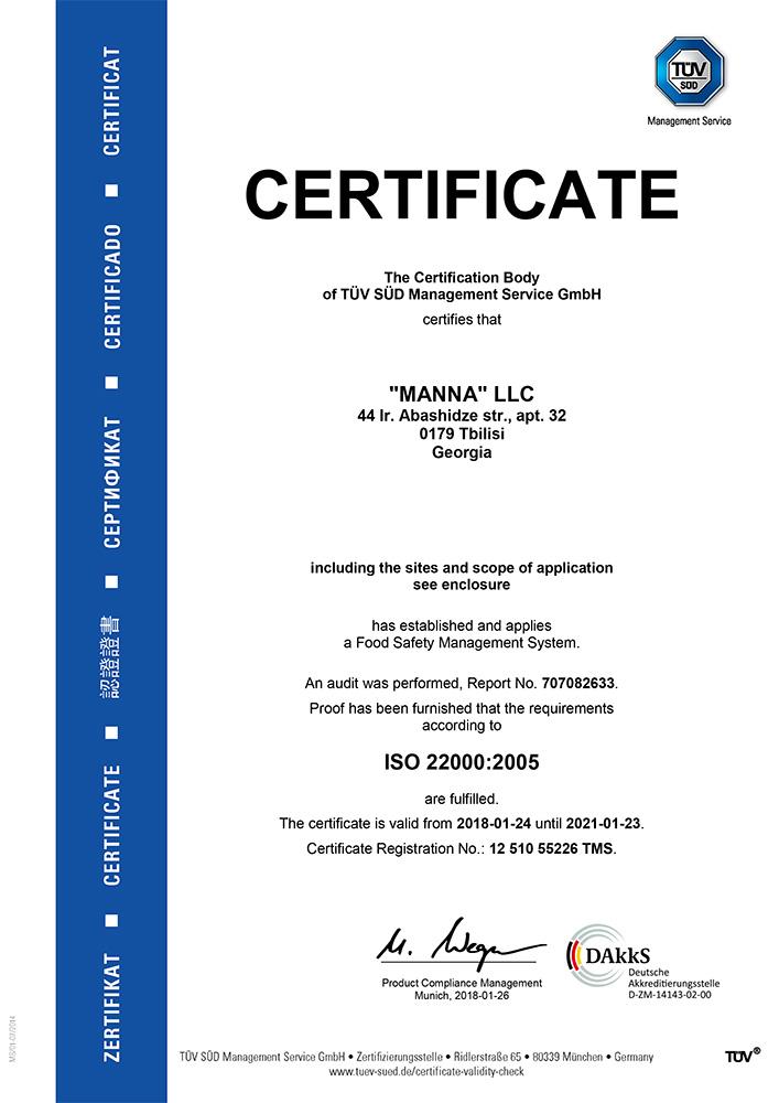 Certifikát ISO 22000